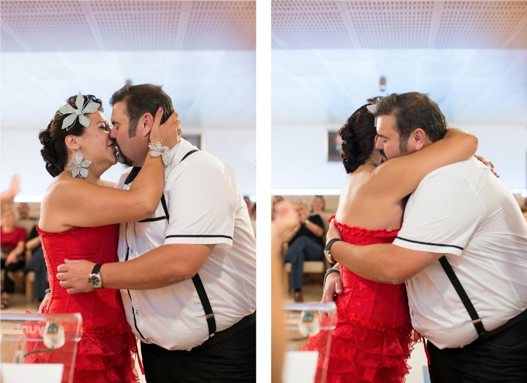 Beso como marido y mujer en boda civil