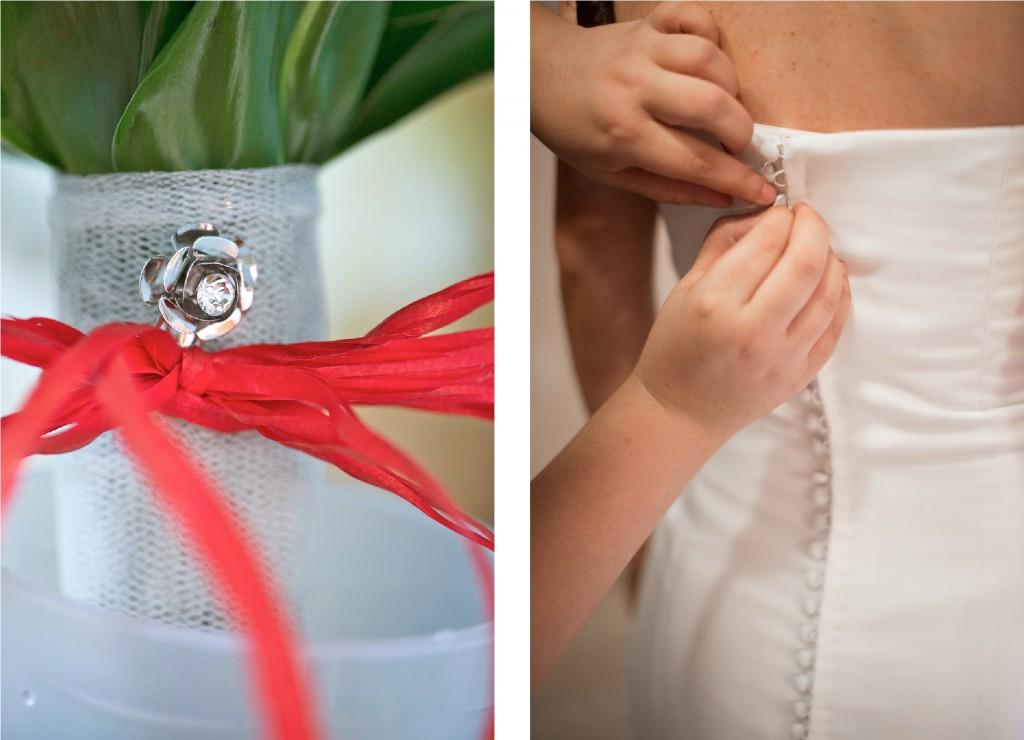 detalles del vestido y ramo de la novia