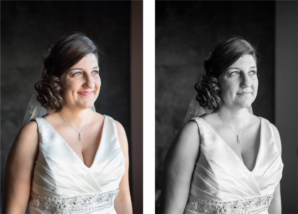 retrato novia natural con vestido de Vertize Gala